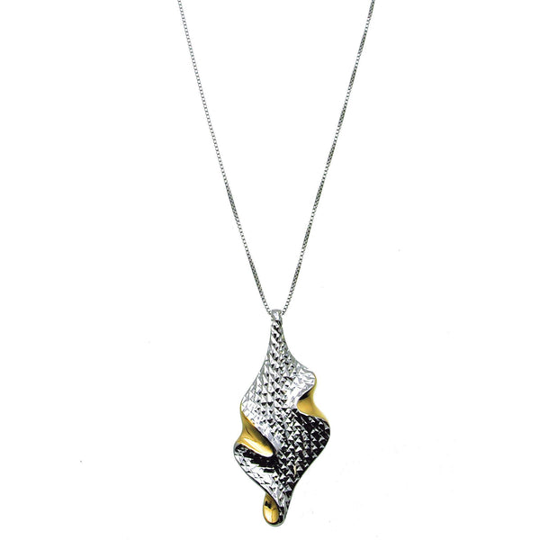Diamond Cut Silver and Gold Pendant