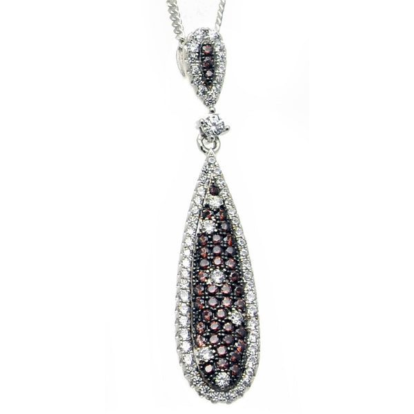 Elegant chocolate chip and white cubic zirconia drop necklace