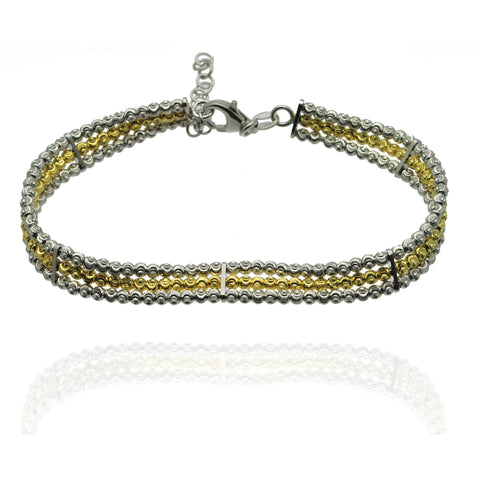 Triple Row Silver and Gold Bracelet