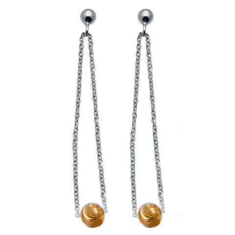 Scintillating Silver and Gold Dangle Bead Earrings