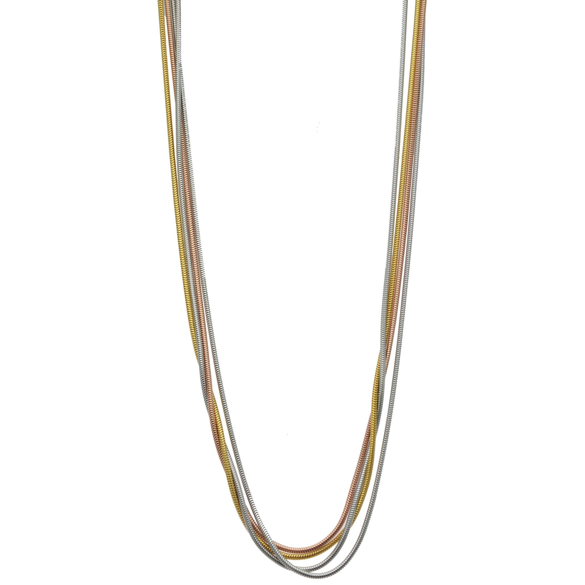 Rose Gold, Yellow Gold, and Sterling Silver Four Strand Necklace