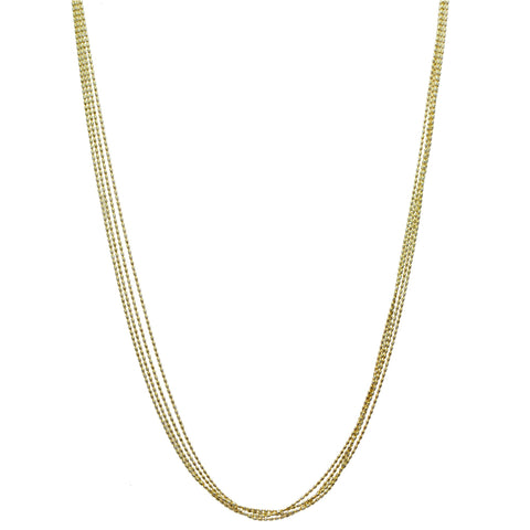 Scintillating Multi-Strand Gold Diamond Cut Necklace