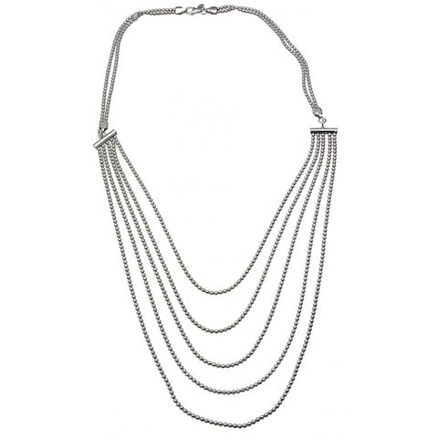 Silver Necklaces | Beaded Sterling Silver Bib Necklace