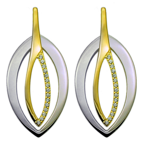 Sleek Modern Silver and Gold Drop Earrings