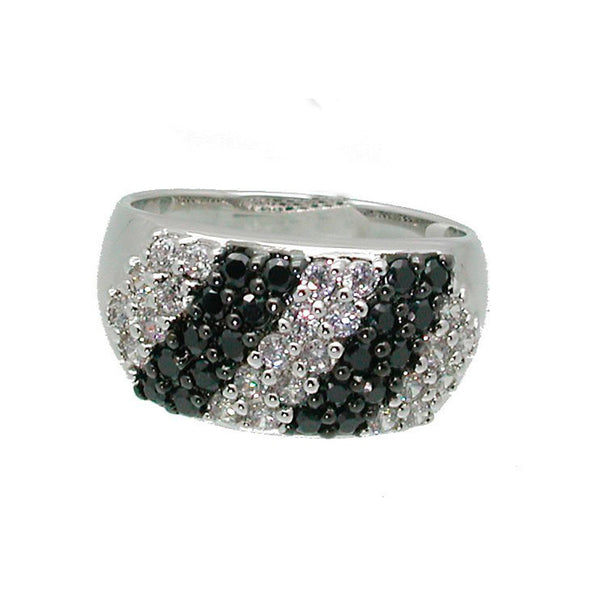 Dramatic Modern Black And White Ring