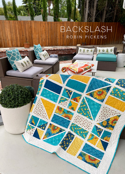 BACKSLASH Digital PDF Quilt Pattern by Robin Pickens. Geometric Lap, Twin, or Queen sizes.