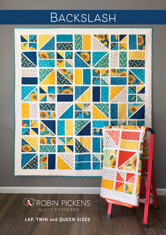 BACKSLASH Quilt Pattern PRINTED booklet by Robin Pickens. Geometric Lap, Twin, or Queen sizes.