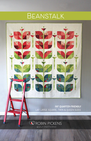 BEANSTALK Digital PDF Quilt Pattern by Robin Pickens/ lap, large square, twin, queen quilt/curved piecing with paper template