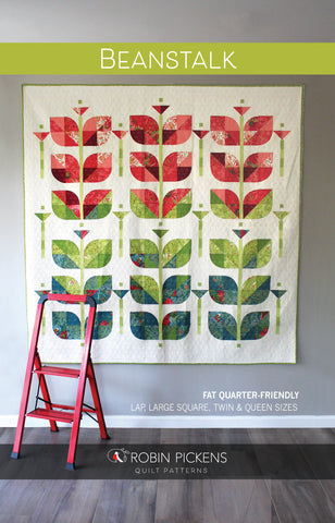 Quilt Pattern Digital PDF of BEANSTALK by Robin Pickens/ lap, large square, twin, queen quilt/curved piecing with paper template
