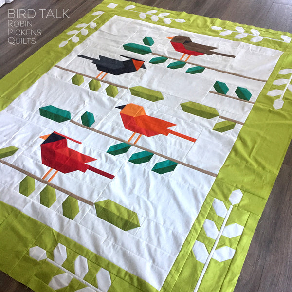 BIRD TALK Quilt Pattern Digital PDF by Robin Pickens, Lap or Twin size