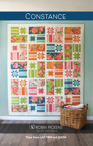 Quilt Pattern (digital PDF download) of CONSTANCE Quilt by Robin Pickens / Lap, Twin, Queen sizes