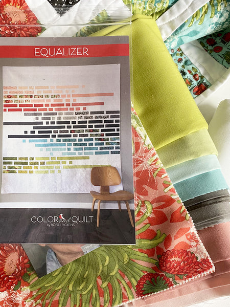 "A QUILT KIT of EQUALIZER made with Dear Mum and Bella Solids. Size 76"" x85"""