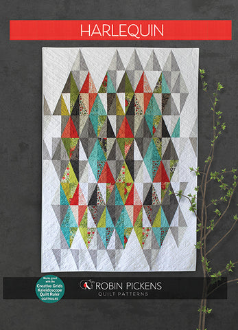 "Harlequin Quilt Pattern (printed booklet) by Robin Pickens /Layer Cake Precut friendly/49"" x 71"" or 61"" x 83"" with additional borders"