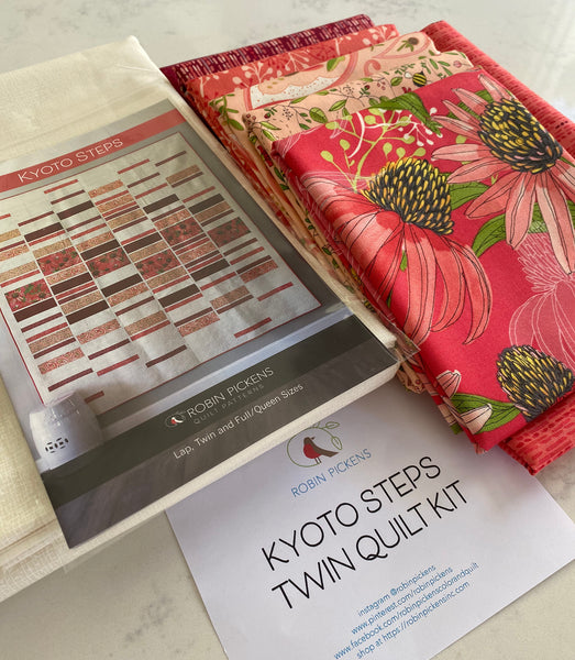 A QUILT KIT of KYOTO STEPS by Robin Pickens in Twin size, Painted Meadow Reds
