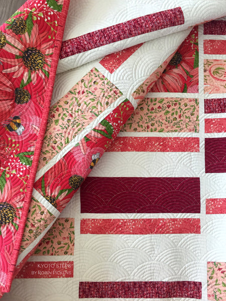 A QUILT KIT of KYOTO STEPS by Robin Pickens in LAP size, Painted Meadow Reds