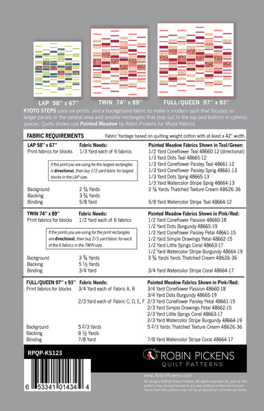 Quilt Pattern Digital PDF of KYOTO STEPS by Robin Pickens/ lap, twin, queen quilt easy quick quilt