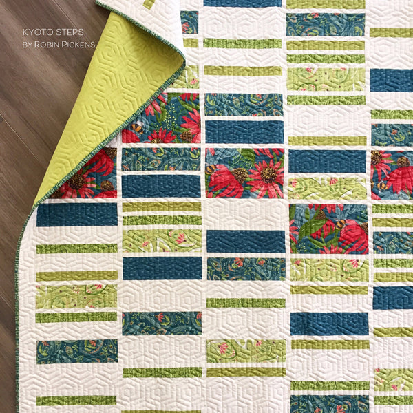 A QUILT KIT of KYOTO STEPS by Robin Pickens, Twin size, Painted Meadow TEAL/GREENS