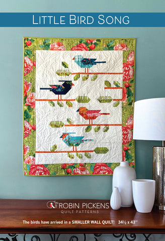 "LITTLE BIRD SONG Small Wall Quilt  Digital PDF by Robin Pickens 34"" x 43"""