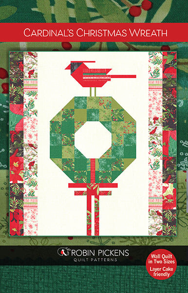 CARDINALS CHRISTMAS WREATH Printed Quilt Pattern in Large or Medium Wall Sizes by Robin Pickens- Layer Cake friendly