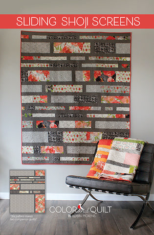 "SLIDING SHOJI SCREENS Printed Quilt Pattern Booklet by Robin Pickens / jellyroll friendly / 60"" x 74"", 2 companion quilt plans"
