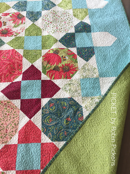 Quilt Pattern (digital download pdf) of PICKET by Robin Pickens - Large or Lap, Fat Quarters or Layer Cake Precuts
