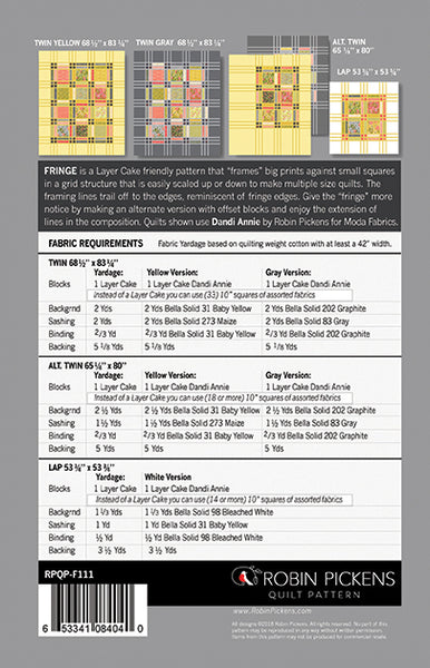 FRINGE Quilt Pattern (printed booklet) by Robin Pickens / Twin and Lap/Wall easy quilt