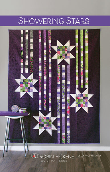 SHOWERING STARS Digital PDF Quilt Pattern by Robin Pickens / Twin size / Easy Quick Quilt / Jelly Roll Precut