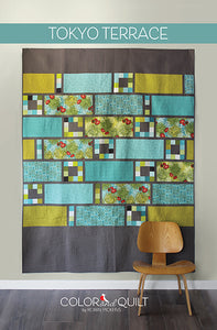 TOKYO TERRACE Quilt Pattern (printed booklet) by Robin Pickens /Twin and Lap size/Easy Fast Quilt