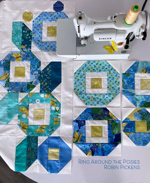 "RING AROUND THE POSIES Quilt Pattern, digital download for 64 1/2 x 64 1/2"" quilt"