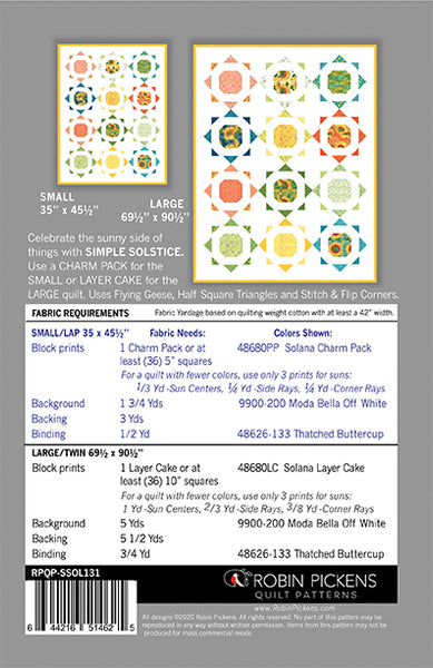 SIMPLE SOLSTICE (PRINTED booklet) Quilt Pattern by Robin Pickens
