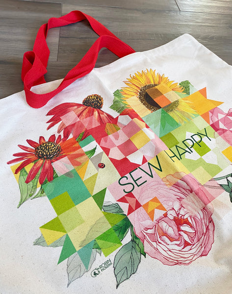 Sew Happy Large Cotton Canvas Retreat & Project Tote