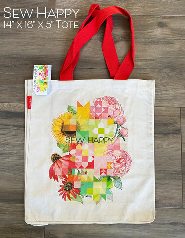 "Sew Happy 14"" x 16"" Cotton Canvas Tote bag"