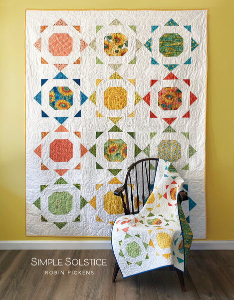 SIMPLE SOLSTICE (digital PDF) Quilt Pattern by Robin Pickens. Charm Pack or Layer Cake friendly for wall/lap or twin size.