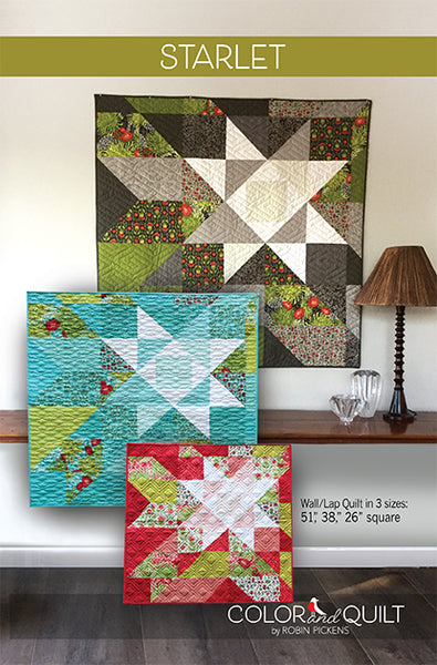 "Starlet (printed booklet) Quilt Pattern by Robin Pickens in 3 sizes for wall or lap quilts 51"", 38"" or 26"" square"""
