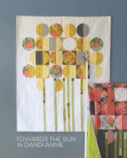 "A QUILT KIT of TOWARDS THE SUN with Dandi Annie fabrics in White/Yellow- Wall size 40"" x 50"""
