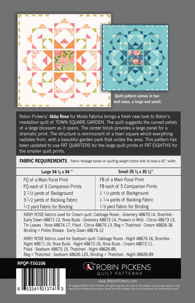 "TOWN SQUARE GARDEN Digital PDF Quilt Pattern by Robin Pickens / wall quilt (54 1/2"" or 35 1/2"" square)"