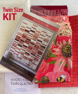 QUILT KIT of KYOTO STEPS by Robin Pickens in Twin size, Painted Meadow Reds