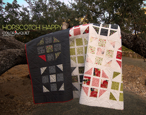 Quilt Pattern (printed booklet) of HOPSCOTCH HAPPY Quilt by Robin Pickens / Charm pack friendly / King, Queen, Twin and Lap sizes