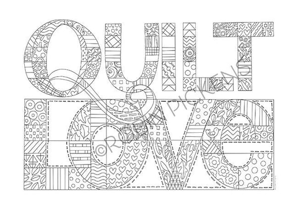 "Quilt Love Instant Downloadable Coloring Page 8.5"" x 11"" Horizontal"