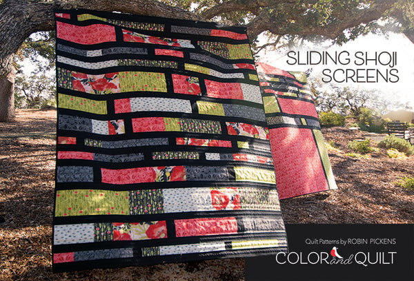 "Sliding Shoji Screens Digital PDF Quilt Pattern by Robin Pickens / jellyroll friendly / 60"" x 74"", 2 companion quilt plans"