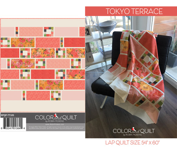 Quilt Pattern (downloadable digital PDF) of TOKYO TERRACE Quilt by Robin Pickens / Twin and Lap size / Easy Fast Quilt