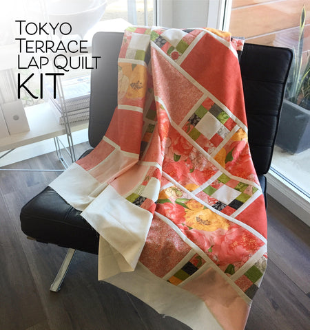 QUILT KIT: Tokyo Terrace Lap Quilt KIT by Robin Pickens using Blushing Peonies from Moda Fabrics_ easy quick quilt
