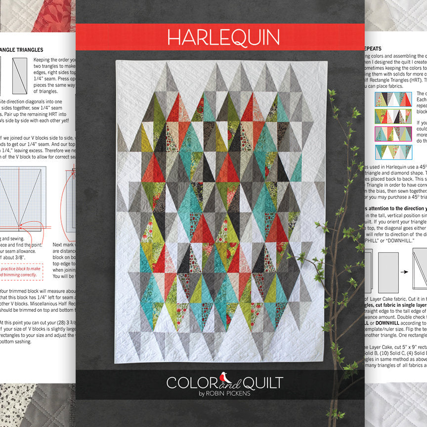 "Quilt Pattern of Harlequin (digital downloadable PDF) by Robin Pickens /Layer Cake Precut friendly/49"" x 71"" or 61"" x 83"""