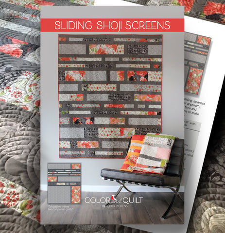 "Quilt Pattern (printed booklet) of SLIDING SHOJI SCREENS Quilt by Robin Pickens / jellyroll friendly / 60"" x 74"", 2 companion quilt plans"