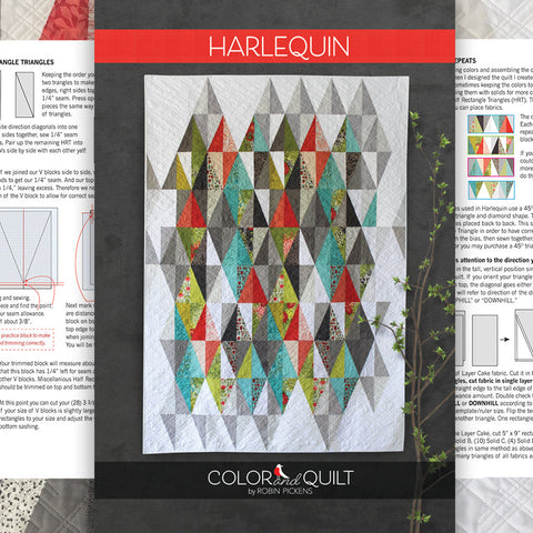 "Quilt Pattern of Harlequin (printed booklet) by Robin Pickens /Layer Cake Precut friendly/49"" x 71"" or 61"" x 83"" with additional borders"