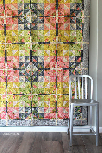 FARMHOUSE CROSSING Quilt Pattern (printed booklet)  by Robin Pickens / Twin and Lap/Wall size