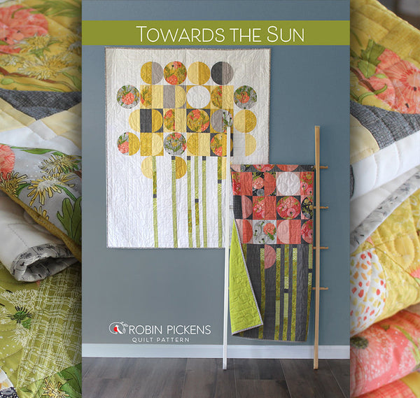 TOWARDS THE SUN Digital PDF Quilt Pattern by Robin Pickens/ wall quilt/ modern circles quilt /pieced or applique