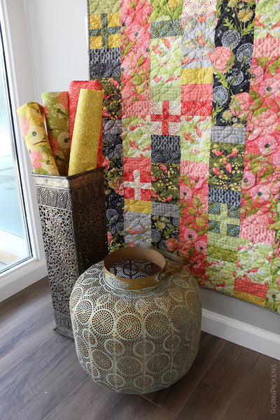 Quilt Pattern (downloadable digital PDF) of POSITIVELY BOHEMIAN Quilt by Robin Pickens / Twin size / Easy Fast Quilt