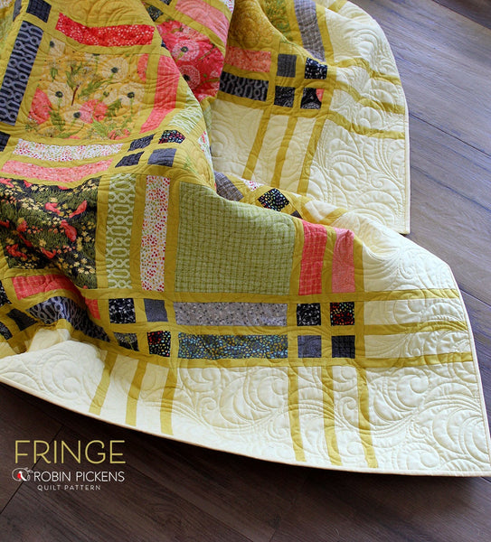 Quilt Pattern (downloadable digital PDF) of FRINGE Quilt by Robin Pickens / Twin and Lap/Wall easy quilt