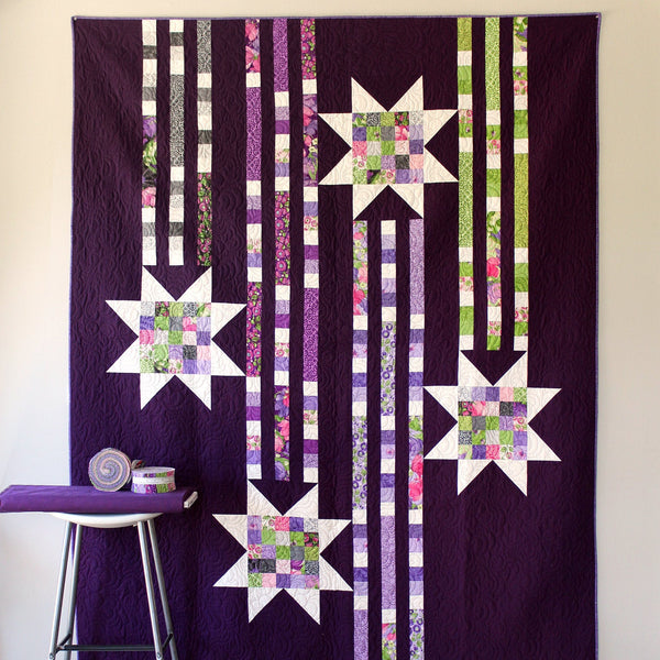 Quilt Pattern SHOWERING STARS (digital download PDF) Quilt by Robin Pickens / Twin size / Easy Quick Quilt / Jelly Roll Precut